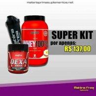 Kit Whey 100% 900g + Dexadrine 60 cápsulas + coqueteleira MPTeam 600ml - Integralmedica
