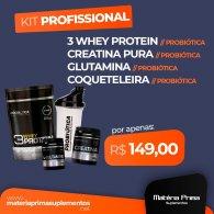 Kit 3w 825g + Creatina pura 100g + Glutamina 120g - Probiótica