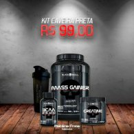 Kit Mass Gainer 1.5kg + BCAA 2400 100 cápsulas + Creatina 150g + Coqueteleira MP 600ml - Black Skull Caveira Preta Series