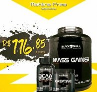 Kit Mass Gainer 3kg + BCAA 2400 100 caps + Creatina 150g Caveira Preta Series - Black Skull