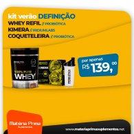 Kit Whey Refil Probiótica 825g + Kimera 60 caps Iridium Labs + Coqueteleira Probiótica 700ml