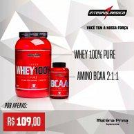 Kit Whey 100% 900g + Amino BCAA 2:1:1 - Integralmedica