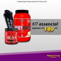 Kit Whey 100% 900g + BCAA em pó 300g + coqueteleira 600ml MP - Integralmedica